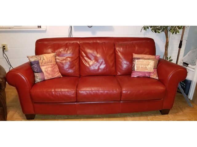 Red Leather Sofa Couch In Avery County North Carolina